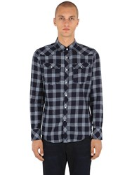 G Star 3301 Cotton Flannel Shirt Blue