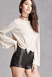 Forever 21 Bell Sleeve Tie Front Crop Top