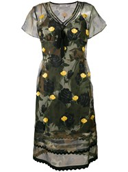 Coach Floral Print Dress Women Cupro 4 Green