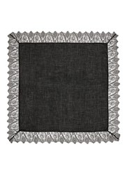 Faliero Sarti 'Manu' Lace Trim Virgin Wool Blend Scarf Black
