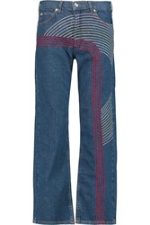 See By Chloe Embroidered High Rise Straight Leg Jeans Blue