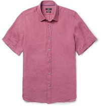 Hugo Boss Garment Dyed Linen Shirt Pink