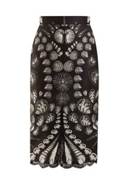 Alexander Mcqueen Shell Print Lace Trimmed Wool And Silk Blend Skirt Black White