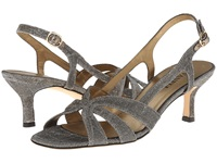 Vaneli Maeve Platinum Nizza Fabric Gold Buckle Women's Shoes