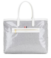 Thom Browne Coated Canvas Beach Bag Grey