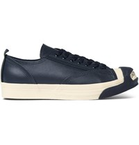 Undercover Logo Leather And Rubber Sneakers Navy