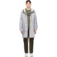 Junya Watanabe Grey And White Check Chambray Laminated Coat