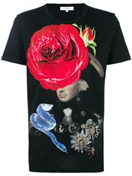 Les Benjamins Rose Print T Shirt Black
