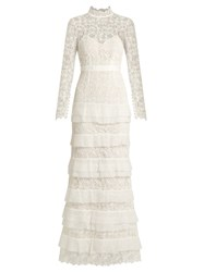 Self Portrait Primrose Tiered Crepon And Guipure Lace Gown White