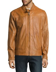 Marc New York Perforated Leather Moto Jacket Cognac