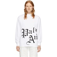 Palm Angels White Side New Gothic Long Sleeve T Shirt