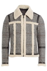 Neil Barrett Wool Jacket With Shearling And Leather Grey