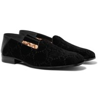 Gucci Collapsible Heel Leather Trimmed Logo Embroidered Velvet Loafers Black