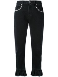 Msgm Cropped Flare Trousers Women Cotton 42 Black
