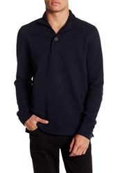 Ben Sherman 1 4 Zip And Button Funnel Neck Sweater Blue