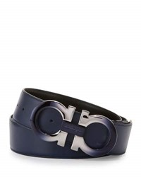 Salvatore Ferragamo Degrade Double Gancini Reversible Leather Belt Blue Black Blue Black