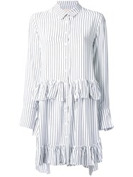 Elaidi Striped Ruffle Detail Tunic Top White