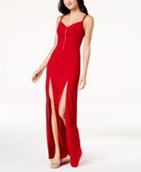 Emerald Sundae Juniors' Double High Slit Gown Red