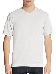 Saks Fifth Avenue Blue Slub Jersey V Neck Tee