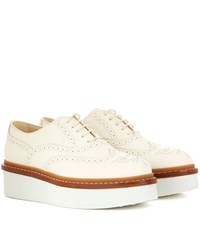 Tod's Leather Platform Oxford Shoes White
