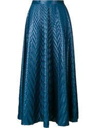 Golden Goose Deluxe Brand Chevron Print Long Skirt Blue