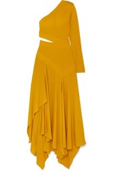 Givenchy One Shoulder Asymmetric Cutout Crepe Gown Yellow