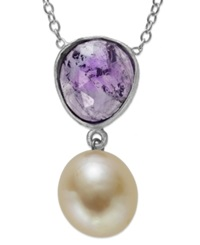 Macy's Sterling Silver Necklace Cultured Freshwater Pearl 9Mm And Amethyst 1 1 10 Ct. T.W. Pendant Purple