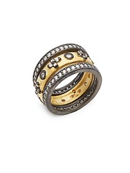 Freida Rothman Clover Eternity Two Tone Sterling Silver Studded Stack Ring Black