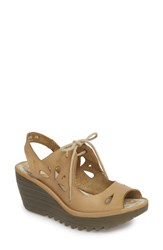 Fly London Yend Platform Wedge Sandal Cream Leather