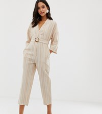 Native Youth Relaxed Jumpsuit In Linen Stripe With Buckle Beige