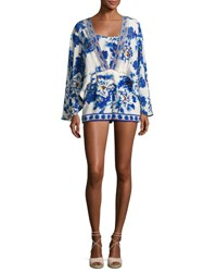 Camilla Long Sleeve Cape Playsuit Ring Of Roses Multi
