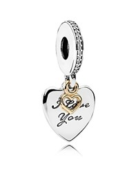 Pandora Design Charm Sterling Silver 14K Gold And Cubic Zirconia Love You Forever Moments Collection White Gold