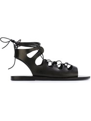 Ancient Greek Sandals Gladiator Laced Sandals Black