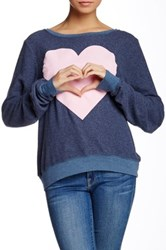 Wildfox Couture Big Pink Heart Baggy Beach Jumper Blue