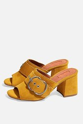 Topshop Nebraska Leather Mules Mustard