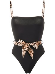 Mc2 Saint Barth Leopard Print Bow Swimsuit Black