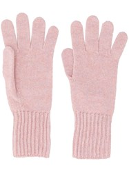 Pringle Of Scotland Ribbed Cuff Gloves Pink And Purple