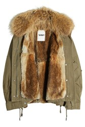 Army By Yves Salomon Cotton Down Parka With Raccoon Fur Lining Green