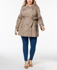 Celebrity Pink Trendy Plus Size Double Breasted Hooded Trench Coat Mushroom