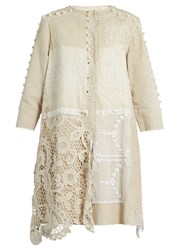By Walid Lace Panelled Linen Coat Beige