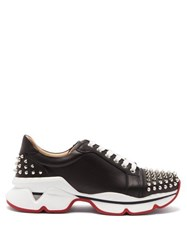 Christian Louboutin Spike Embellished Leather Trainers Black