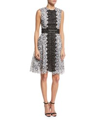 Monique Lhuillier Sleeveless Two Tone Lace Dress Black White Black White