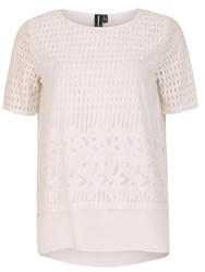 Izabel London Layered Mesh T Shirt Cream