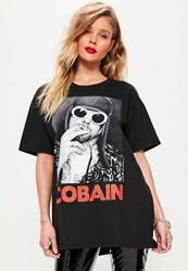 Missguided Black Cobain Oversized T Shirt