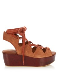 See By Chloe Lace Up Suede Platform Sandals Tan