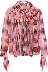 Msgm Ruffle And Tassle Trimmed Printed Silk Chiffon Blouse Blush