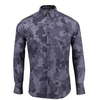 Lords Of Harlech Morris Shirt In Charcoal Houndstooth Camo Grey