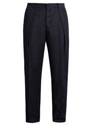 Tomorrowland Memory Wide Leg Twill Trousers Navy