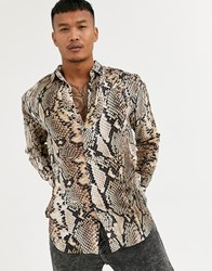 Sik Silk Siksilk Long Sleeve Shirt In Snakeskin Print Beige