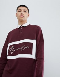Mennace Oversized Rugby Polo Shirt In Burgundy Red